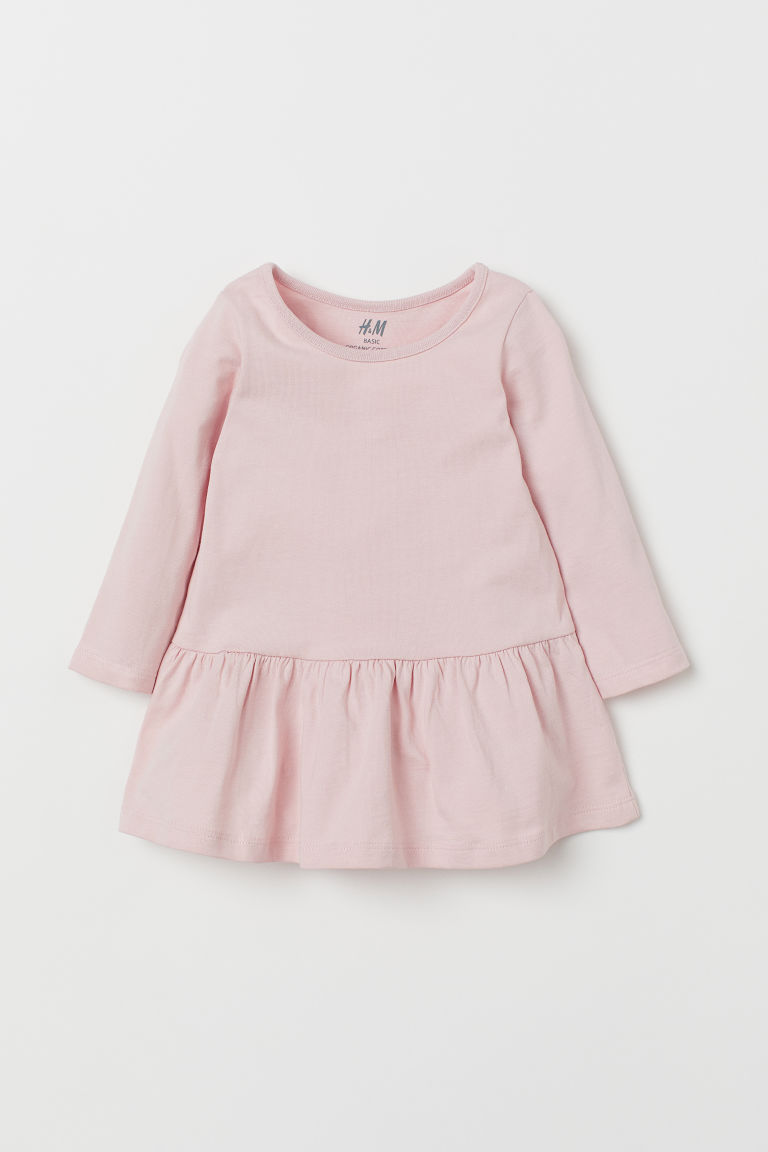 Flounced jersey dress - Powder pink - Kids | H&M GB
