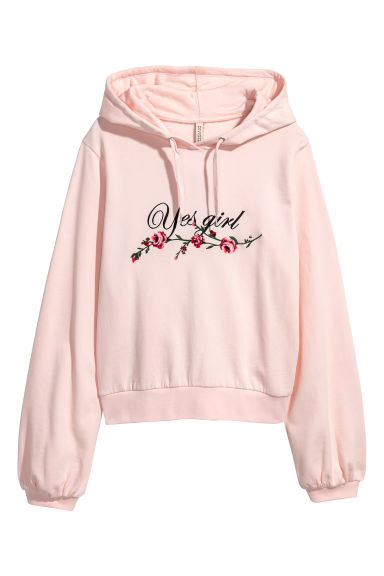 Hooded top with embroidery - Light pink/Flowers -  | H&M IE