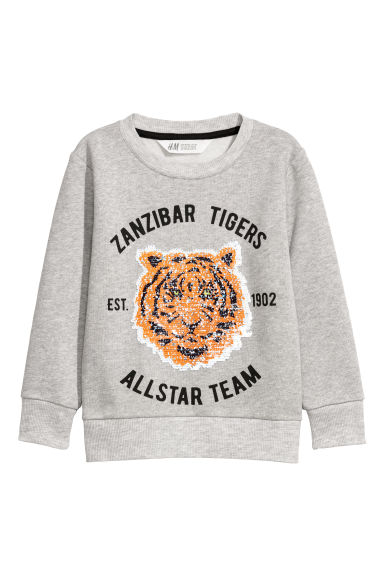 Sequin-motif sweatshirt - Light grey/Tiger - Kids | H&M CN
