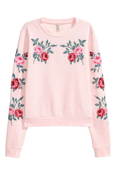Sweat brodé - Rose clair/roses -  | H&M CH