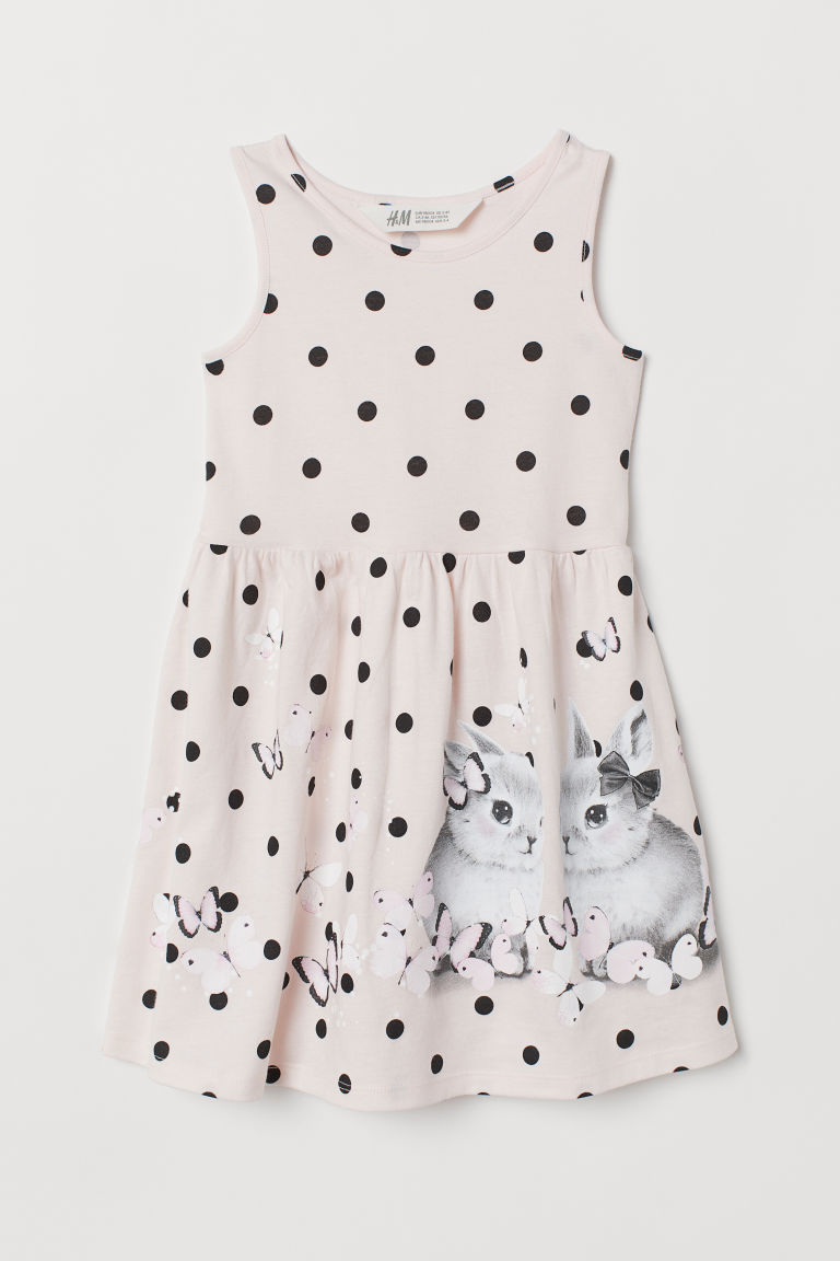 Sleeveless jersey dress - Light pink/Rabbits - Kids | H&M GB