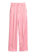 Wide satin suit trousers - Light pink - Ladies | H&M IE 2