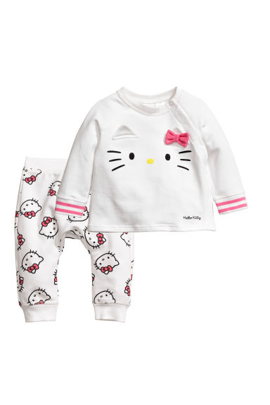 Camisola sweat e joggers - Branco/Hello Kitty -  | H&M PT