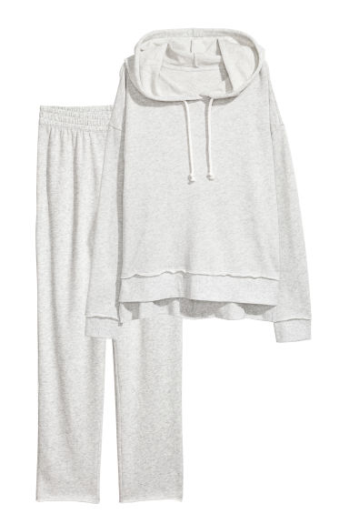 Lounge set top and bottoms - Light grey marl -  | H&M