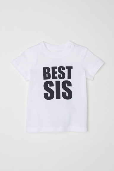 Text-print T-shirt - White/Best Sis - Kids | H&M CN