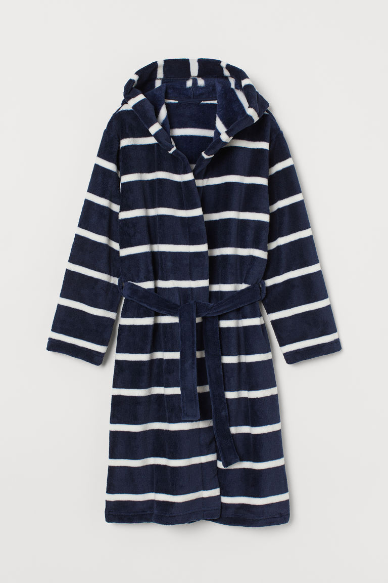 Fleece dressing gown - Dark blue/Striped - Kids | H&M GB