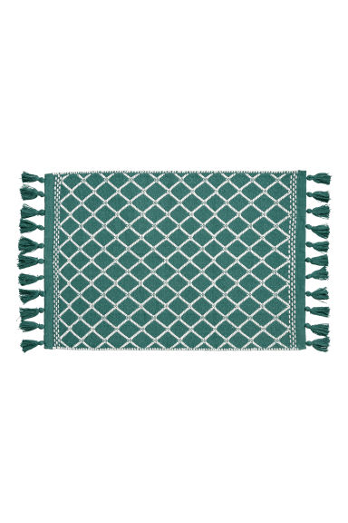 Jacquard-weave bath mat - Petrol/White - Home All | H&M GB