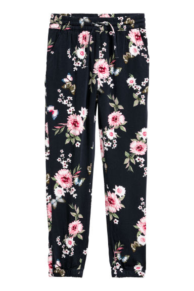 Pull-on trousers - Dark blue/Floral - Kids | H&M CN
