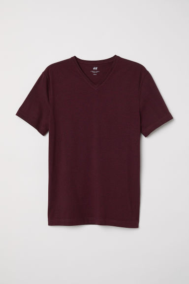 V-neck T-shirt Slim fit - Red/Narrow striped -  | H&M