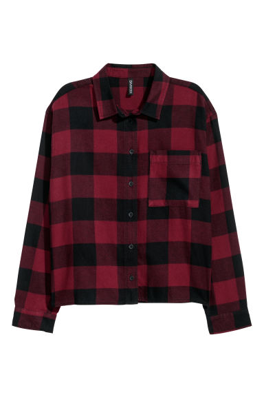 Short flannel shirt - Burgundy/Black checked -  | H&M