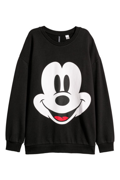 Printed sweatshirt - Black/Mickey Mouse -  | H&M