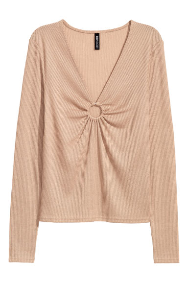 Jumper with a metal ring - Beige -  | H&M IE