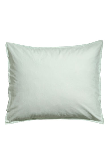Washed cotton pillowcase - Light green -  | H&M CN