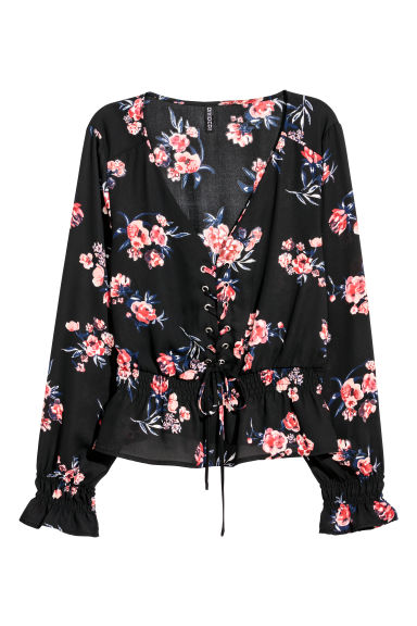 Blouse with lacing - Black/Floral - Ladies | H&M