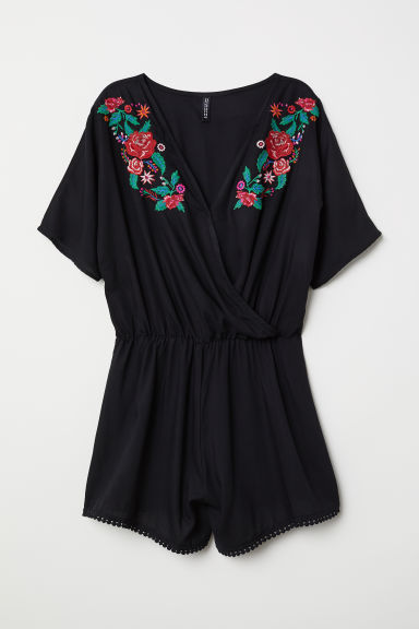 Playsuit with embroidery - Black/Flowers - Ladies | H&M CN