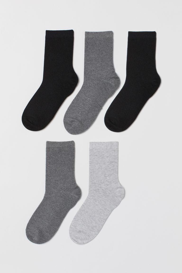5-pack socks - Black/Dark grey marl - Kids | H&M GB