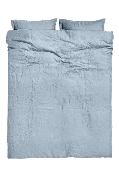 Washed linen duvet cover set - Pigeon blue - Home All | H&M GB