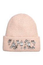 Ribbed hat - Powder pink/Sparkly stones - Ladies | H&M 1