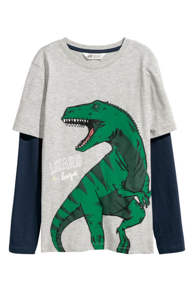 Jersey top - Grey marl - Kids | H&M CN