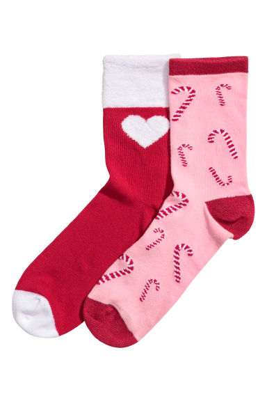 2-pack socks - Red/Candy canes - Kids | H&M CN 1