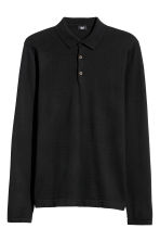 Fine-knit jumper with a collar - Black - Men | H&M 2