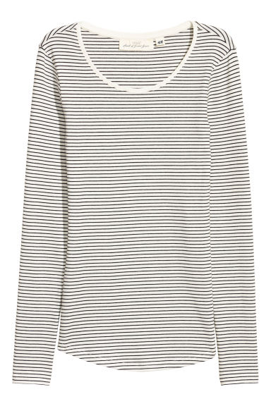 Long-sleeved jersey top - Natural white/Grey striped -  | H&M