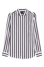 Cotton poplin shirt - White/Striped - Men | H&M 2