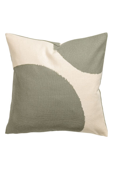 Patterned cushion cover - Natural white/Khaki green - Home All | H&M CN