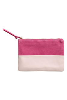 Leather and suede pouch