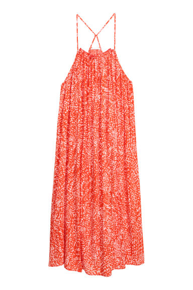 Sleeveless maxi dress - Coral/Patterned - Ladies | H&M IE
