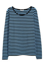 Long-sleeved jersey top - Light blue/Black striped - Ladies | H&M 1