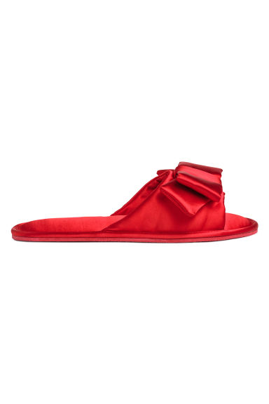 Slippers with a bow - Red - Ladies | H&M GB