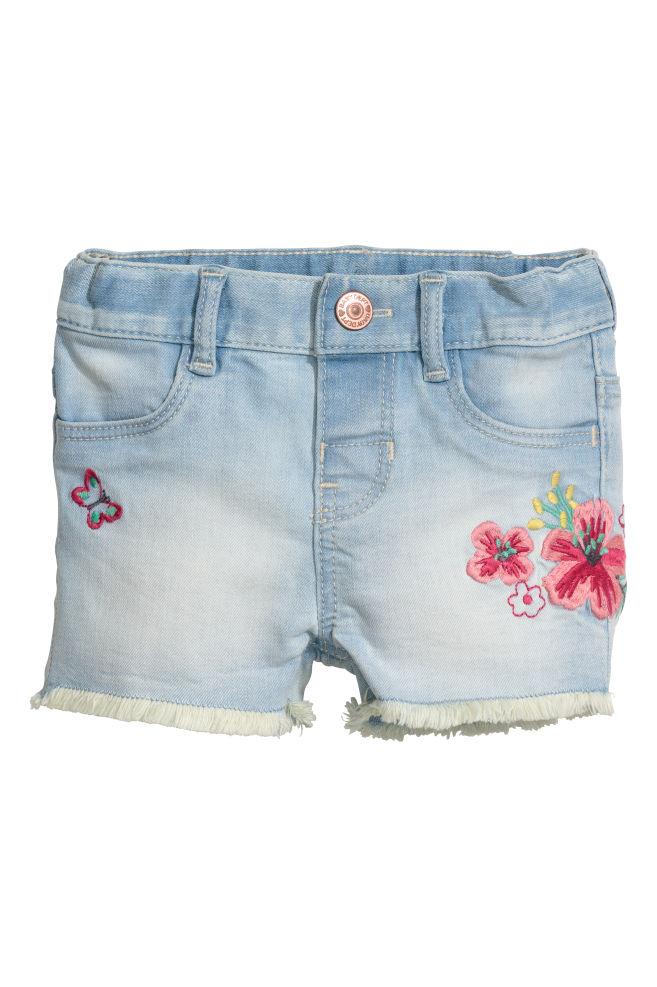 Embroidered denim shorts - Light denim blue - Kids | H&M ...
