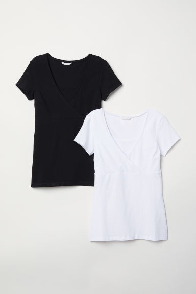 MAMA 2件入哺乳上衣 - White/Black - Ladies | H&M