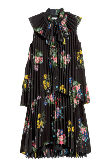 Pleated dress - Black/Floral - Ladies | H&M 1