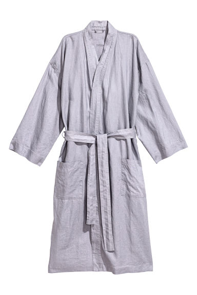 Washed linen dressing gown - Light violet - Home All | H&M IE 1