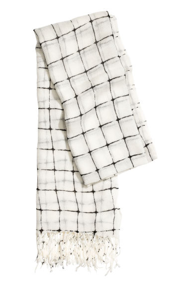 Woven scarf - Natural white/Checked - Ladies | H&M GB