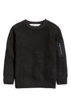 Knitted jumper - Black - Kids | H&M CN 1