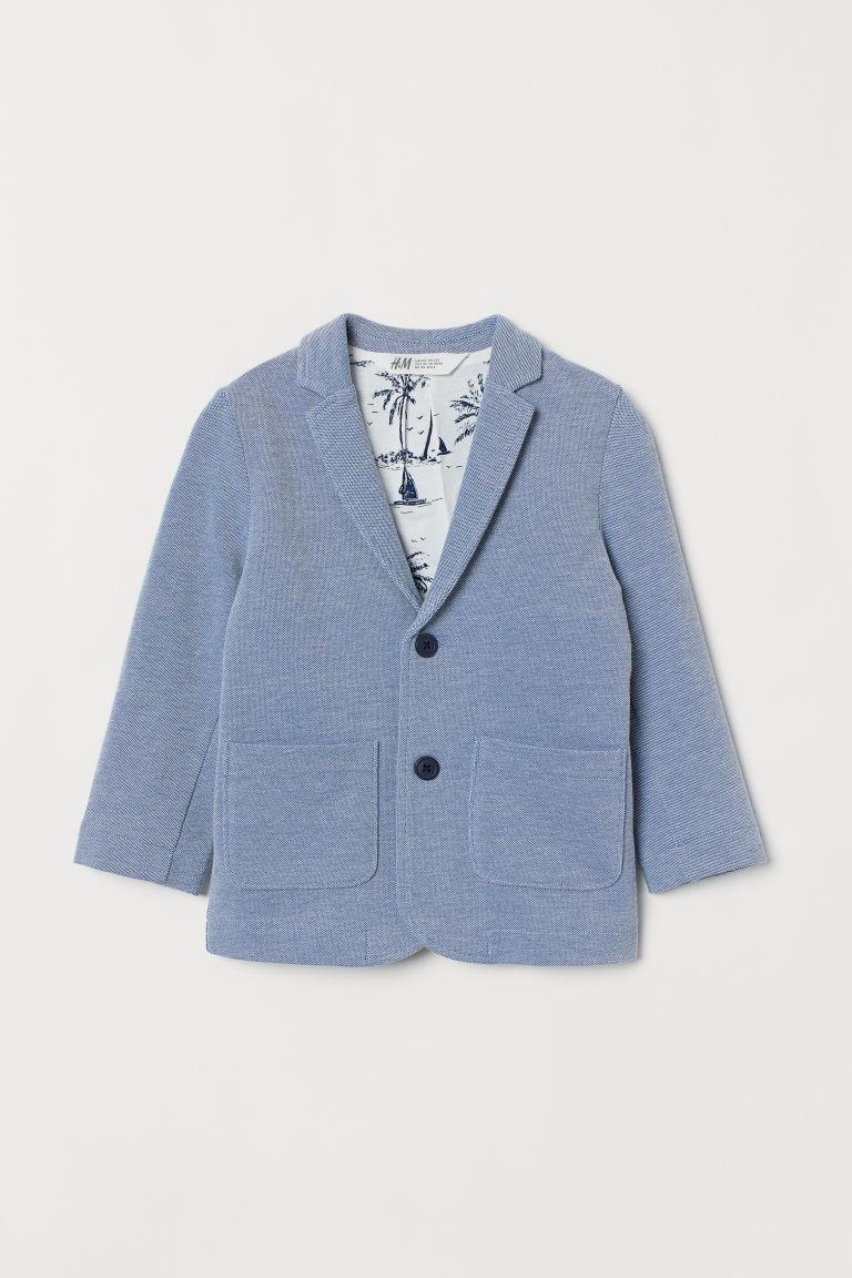 Cotton piqué jacket - Blue marl - Kids   H&M GB