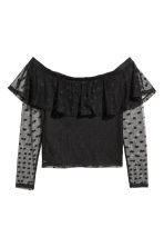 Off-the-shoulder mesh top - Black/Spotted - Ladies | H&M CN 2