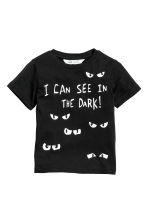 Printed T-shirt - Black/See in the dark - Kids | H&M CN 2