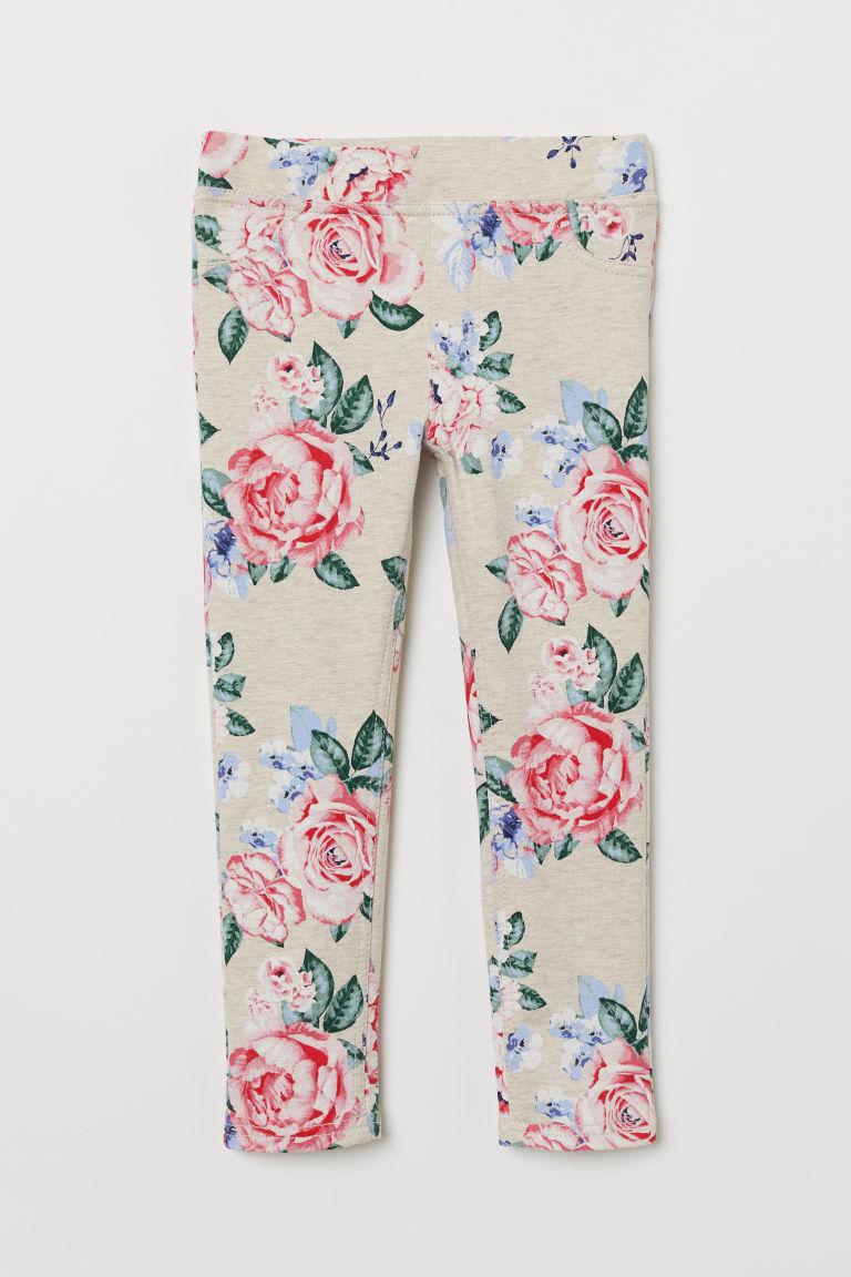 Sturdy jersey leggings - Light beige/Flowers - Kids | H&M GB