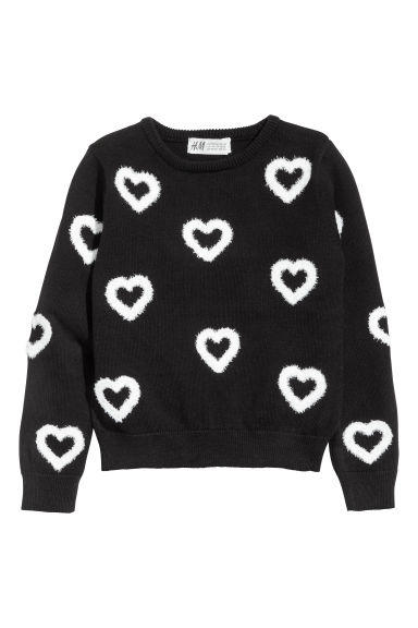 Fine-knit jumper - Black/Hearts -  | H&M