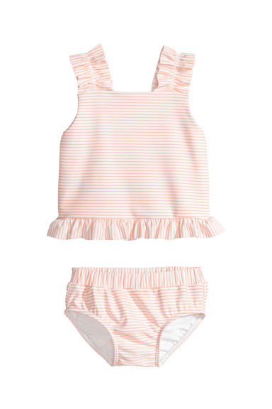 Tankini with frills - White/Striped - Kids | H&M CN