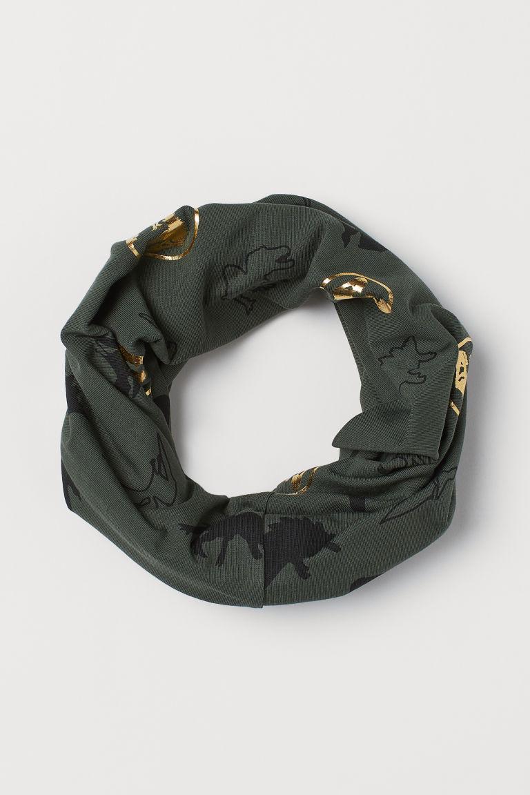 Jersey tube scarf - Khaki green/Dinosaurs - Kids | H&M GB