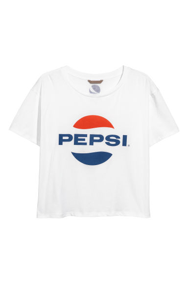 H&M+ T-shirt - White/Pepsi - Ladies | H&M IE