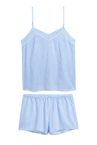 Pyjama top and shorts - Light blue/Striped -  | H&M CN