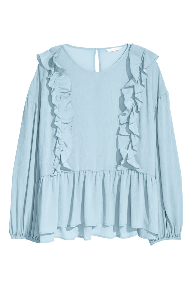 Blouse with flounces - Light blue - Ladies | H&M IN 1