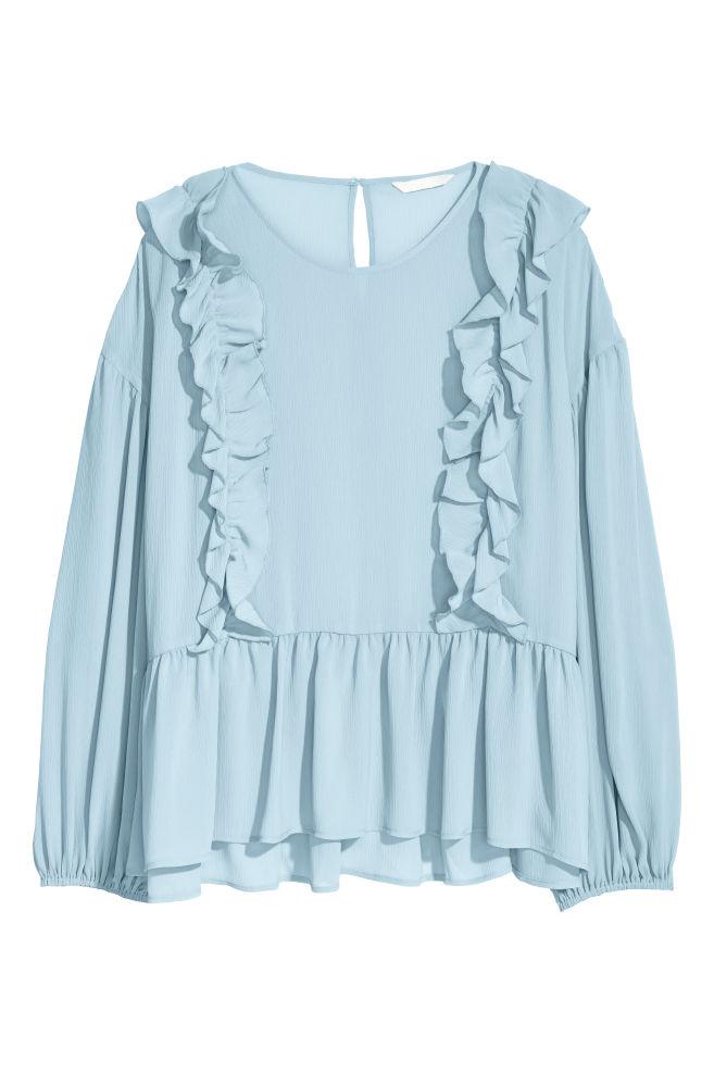 Blouse with flounces - Light blue - Ladies   H&M IN 1