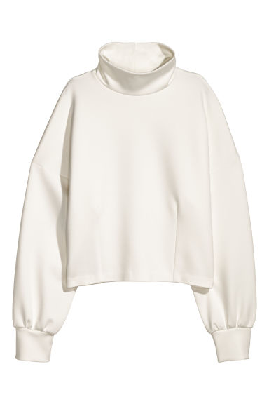 Top with a stand-up collar - White -  | H&M GB
